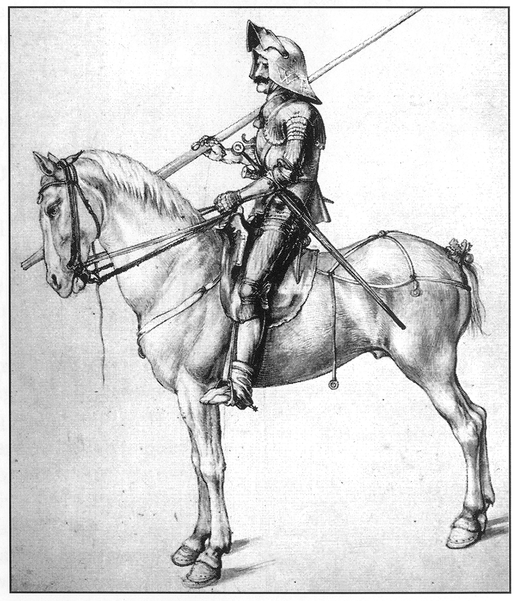 Drawing of a mounted knight prepared for battle ca. A.D. 1500 by Albrecht Durer